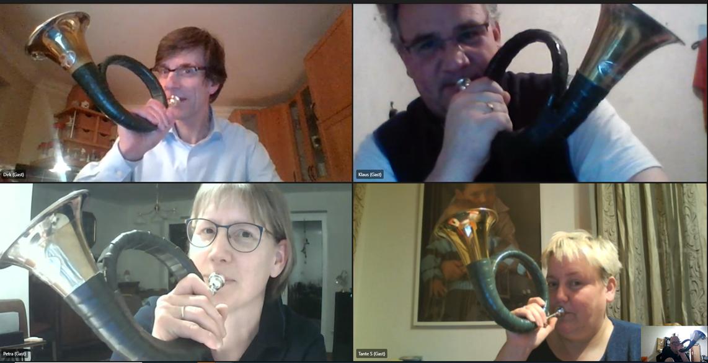Virtuelles Treffen der Jagdhornbläsergruppe